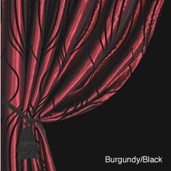 Lambrequin Fusion Flocked Taffeta 96-inch Curtain Panel - Thumbnail 1