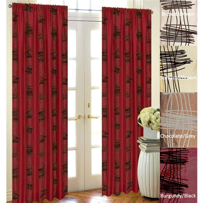 lambrequin scribbles flocked taffeta 96 inch curtain panel