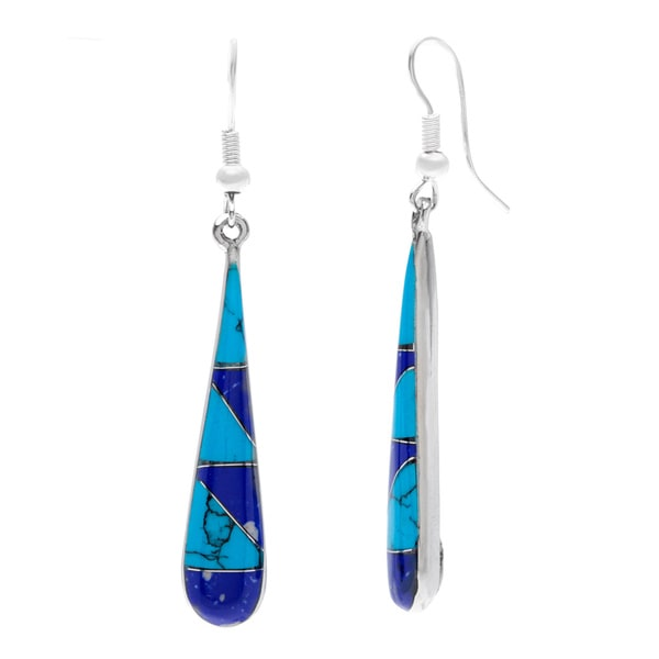 Handmade Silver Turquoise 'Too Blue' Teardrop Earrings (Mexico)