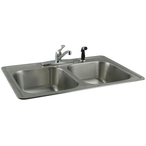 Stainless-Steel Topmount Double-Bowl Kitchen Sink and Chrome Faucet Set