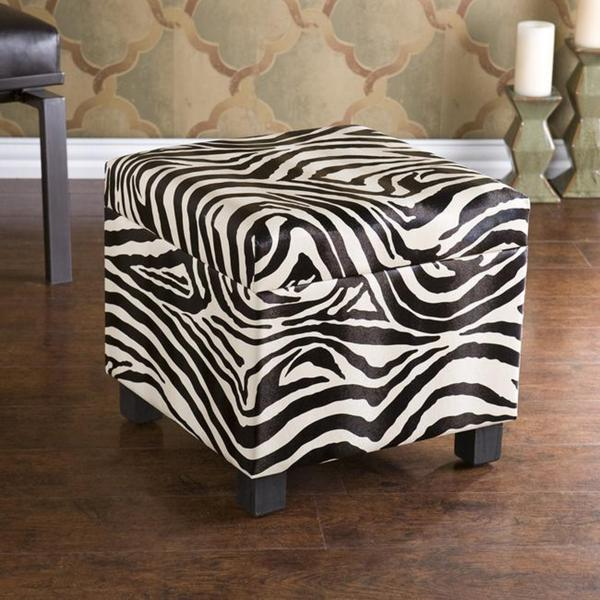 Upton Home Zebra Faux Leather Storage Ottoman Free