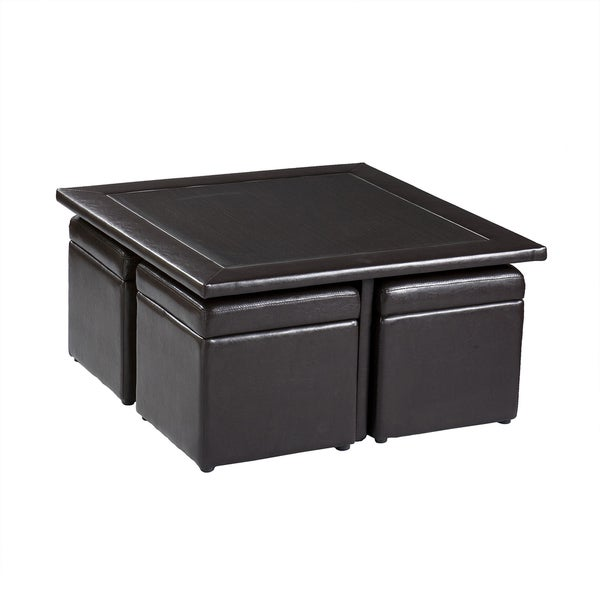 Tray Storage Ottoman Top Black Leather Coffee Table Double Tray