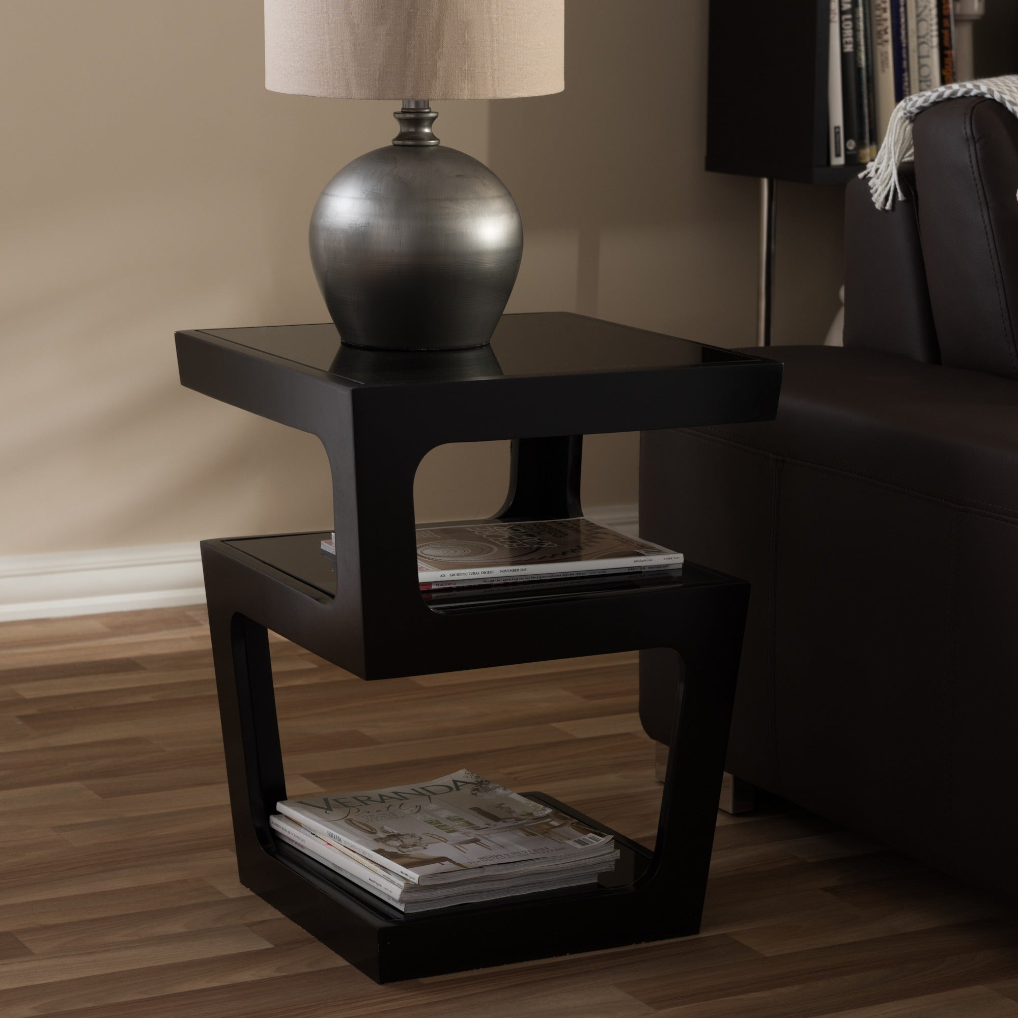 on sale f154e 84475 Clara Modern Tall Black 3-tiered End Table