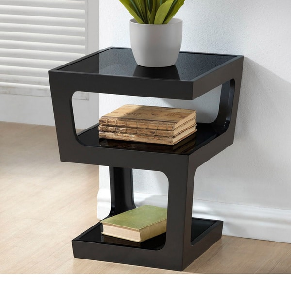 Clara Modern Tall Black 3 Tiered End Table Free Shipping