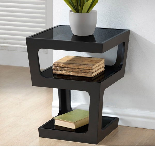 Clara modern tall black 3 tiered end table free shipping for Contemporary end tables