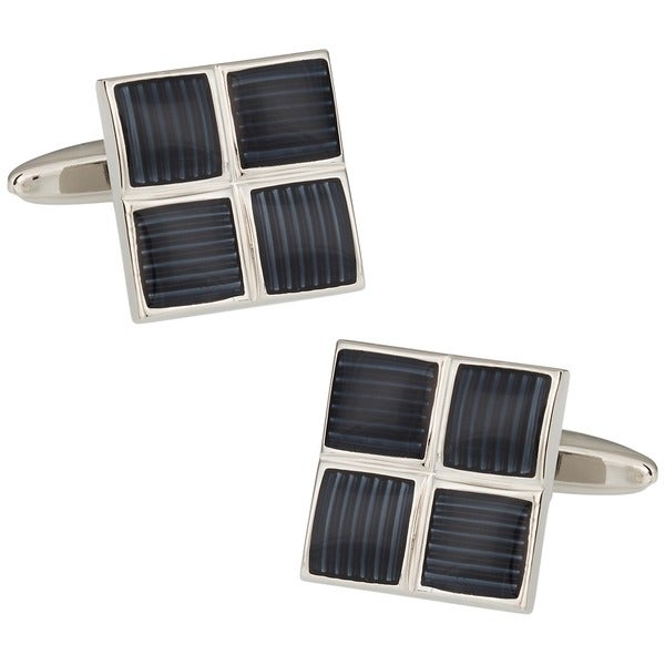 Cuff Daddy Rhodium 4 Square Grays Cufflinks