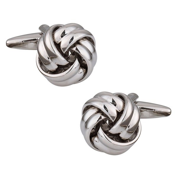 Cuff Daddy Silvertone Metal Knot Cuff Links