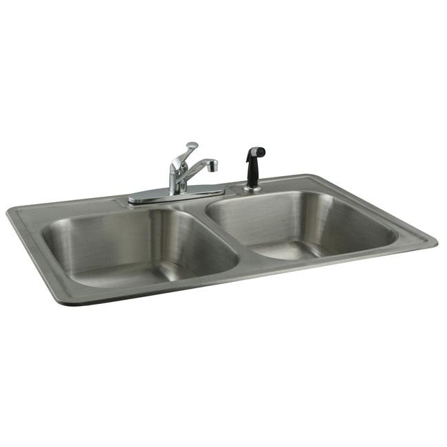 Stainless steel topmount double bowl kitchen sink and for Best kitchen faucet for double sink