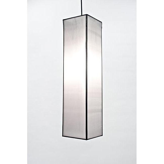 Silk White Rectangular Hanging Lantern (Vietnam)