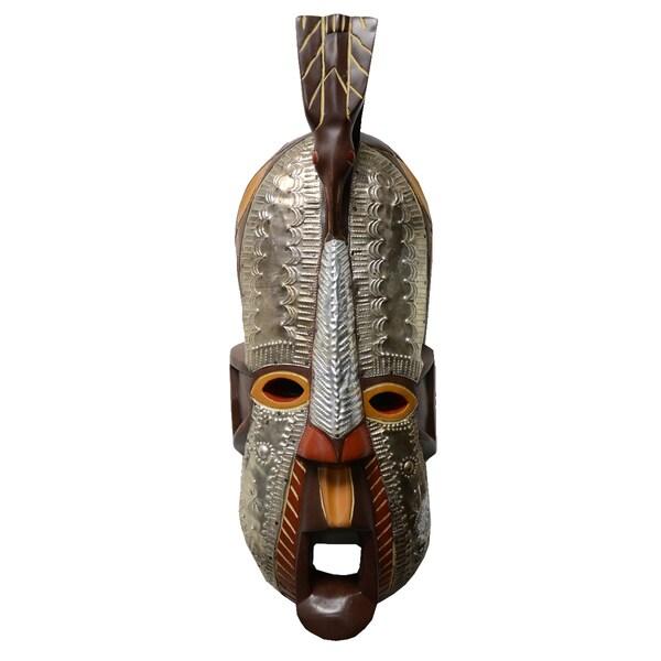 Hand Carved Wood 'Sankofa' Celebration Mask (Ghana)