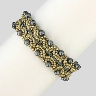 Glass and Crystal Corina Silver Sonnet Bracelet (Guatemala)