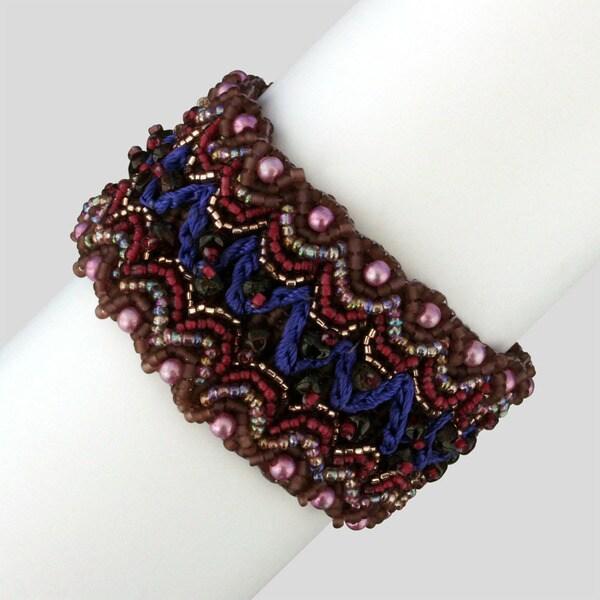 Glass and Crystal Itzela Plum Chic Bracelet (Guatemala)