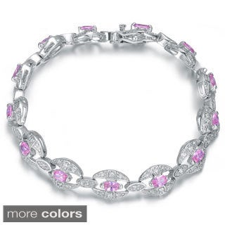 Collette Z Sterling Silver Pink Cubic Zirconia Link Bracelet