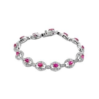 Collette Z Sterling Silver Red Cubic Zirconia Link Fashion Bracelet