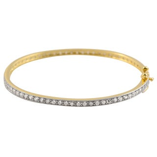 Collette Z Gold over Silver Cubic Zirconia Fashion Bangle