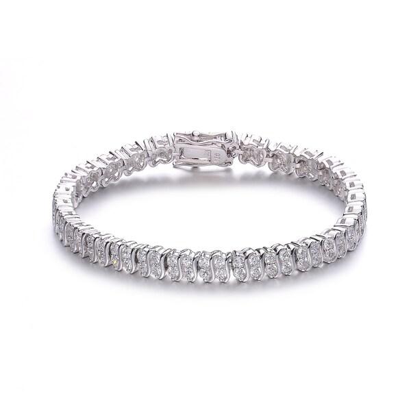 Collette Z Sterling Silver Cubic Zirconia 'S' Tennis Bracelet