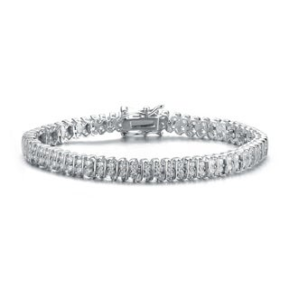 Collette Z Sterling Silver with Rhodium Plated Clear Round Cubic Zirconia Two Row 'S' Tennis Bracelet