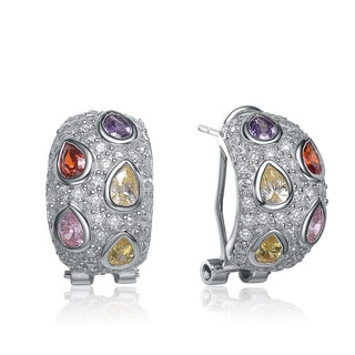 Collette Z Sterling Silver Multi-colored Cubic Zirconia Dome-style Earrings
