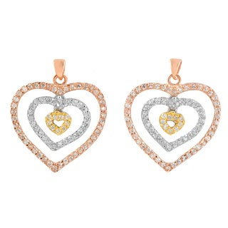 Collette Z 14k Three-tone Gold over Silver Cubic Zirconia Open Heart Earrings