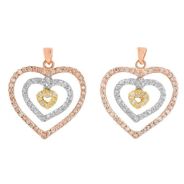 Collette Z 14k Three-tone Gold over Silver Cubic Zirconia Open Heart Earrings