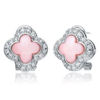 Collette Z Sterling Silver Pink Mother of Pearl and Cubic Zirconia Clover Earrings