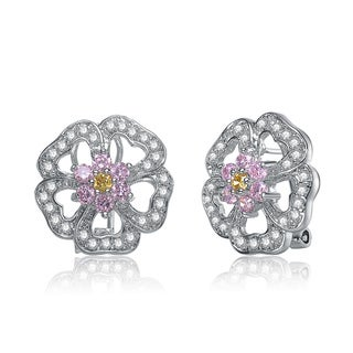 Collette Z Sterling Silver Pink and White Cubic Zirconia Flower Earrings