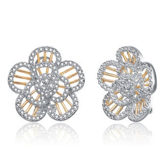 Collette Z 18k Yellow Gold over Silver Clear Cubic Zirconia Flower Earrings