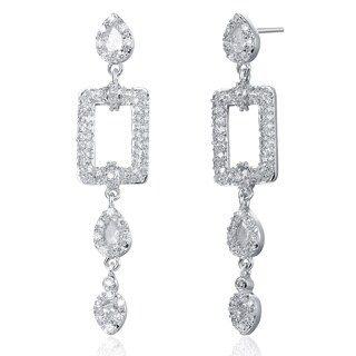 Collette Z Sterling-Silver Round-Cut Cubic Zirconia Square Drop Earrings
