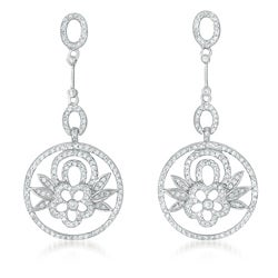 Collette Z Sterling Silver Clear Cubic Zirconia Floral Circle Earrings