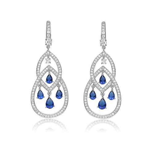 5e8c9f360 Collette Z Sterling Silver with Rhodium Plated Sapphire Blue Pear with Clear  Round Cubic Zirconia Two