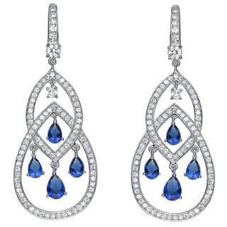 Collette Z Platinum over Sterling Silver Blue and Clear Cubic Zirconia Earrings|https://ak1.ostkcdn.com/images/products/5285222/P13098712.jpg?impolicy=medium