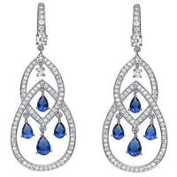Collette Z Sterling Silver with Rhodium Plated Sapphire Blue Pear with Clear Round Cubic Zirconia Two Pear Chandelier Earrings