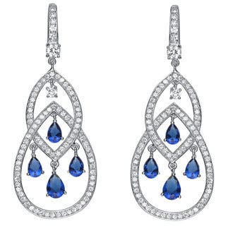 Sterling silver chandelier earrings for less overstock collette z platinum over sterling silver blue and clear cubic zirconia earrings aloadofball Choice Image