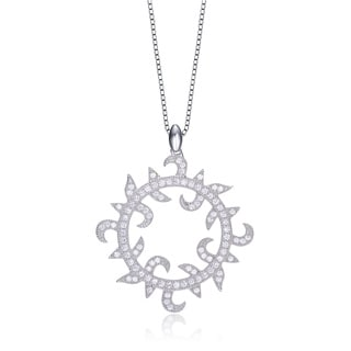 Collette Z Sterling Silver Clear Cubic Zirconia Sun-themed Necklace