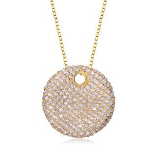 Collette Z Goldtone Sterling Silver Cubic Zirconia Disc Necklace