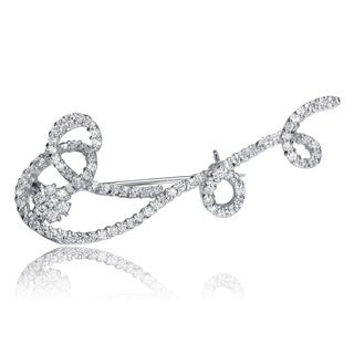 Collette Z Sterling Silver Clear Cubic Zirconia Swirl Brooch