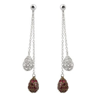 Collette Z Sterling Silver Colored and Clear Cubic Zirconia Dangle Earrings