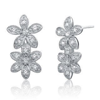 Collette Z Sterling Silver Clear Cubic Zirconia Double Flower Earrings