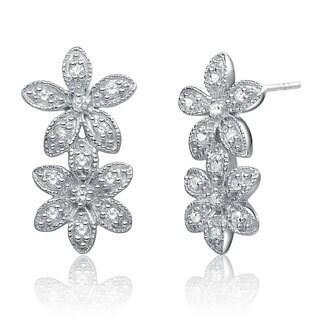 Collette Z Sterling Silver Clear Cubic Zirconia Double Flower Earrings