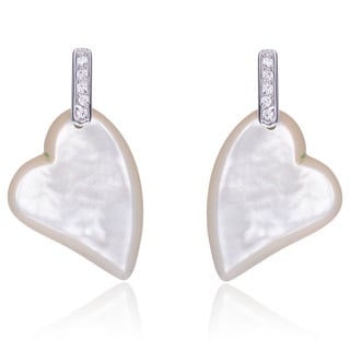 Collette Z Sterling Silver White Mother of Pearl and Cubic Zirconia Heart Earrings