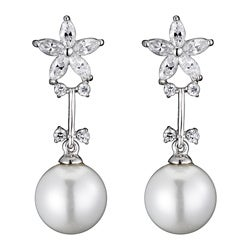 Collette Z Sterling Silver Faux Pearl and Clear Cubic Zirconia Drop Earrings