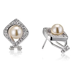 Collette Z Sterling Silver Faux White Pearl and Clear Cubic Zirconia Earrings