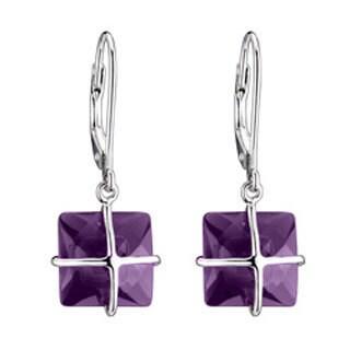 Collette Z Sterling Silver Square-cut Cubic Zirconia Dangle Earrings
