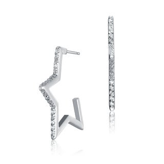 Collette Z Sterling Silver Cubic Zirconia Star-shaped Hoop Earrings