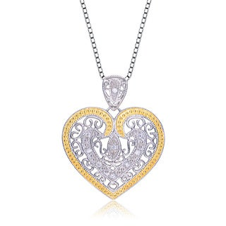 Collette Z Sterling Silver Two-Tone Cubic Zirconia Heart Link Chain Necklace