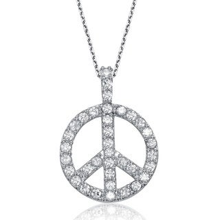 Collette Z Sterling Silver Pave Cubic Zirconia Peace Sign Necklace