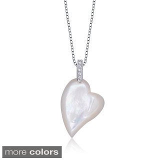 Collette Z Sterling Silver Colored Cubic Zirconia Heart Necklace