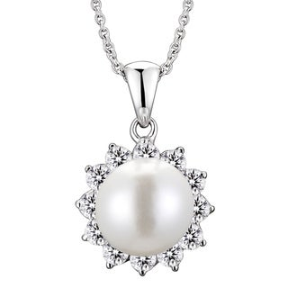 Collette Z Sterling Silver Faux Pearl and Cubic Zirconia Flower Necklace