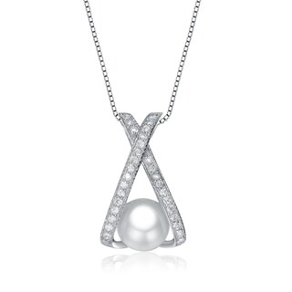 Collette Z Sterling Silver Faux Pearl and Cubic Zirconia 'X' Necklace