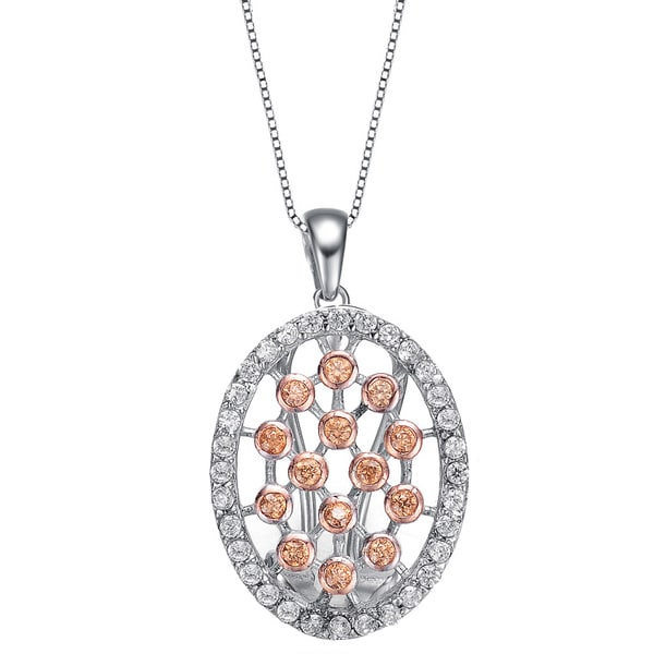 Collette Z Sterling Silver and Rose Gold Overlay Cubic Zirconia Lattice Necklace